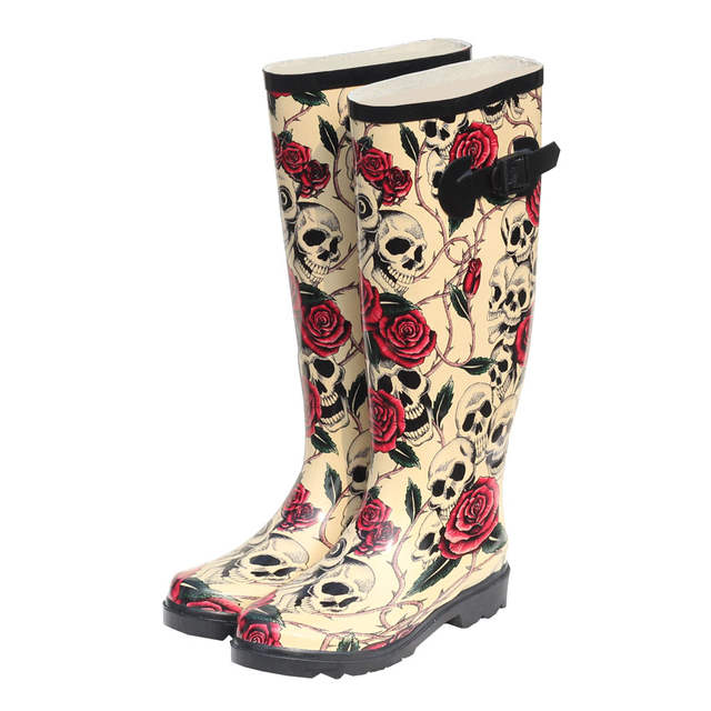 Online Shop New 2017 Rain Stiefel For Damens Rubber Rubber Damens Stiefel Rose Skeleton ... d19e7e