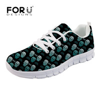 FORUDESIGNS Vintage Punk Skull Print Flats Casual Women Autumn Comfortable Mesh Sneakers Leisure Ladies Girls Breathable Zapatos