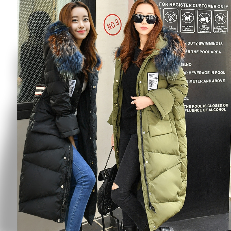 new 2018 down coat women long loose oversized multicolour fur collar jacket winter thickening thermal overcoat army green black