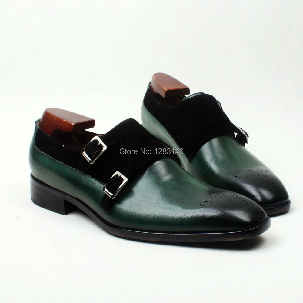 obbilly Handmade Leather Upper/outsole/Insole Green Black Matching Color Double Monk Strap Cement Square toe Shoe No.MS112