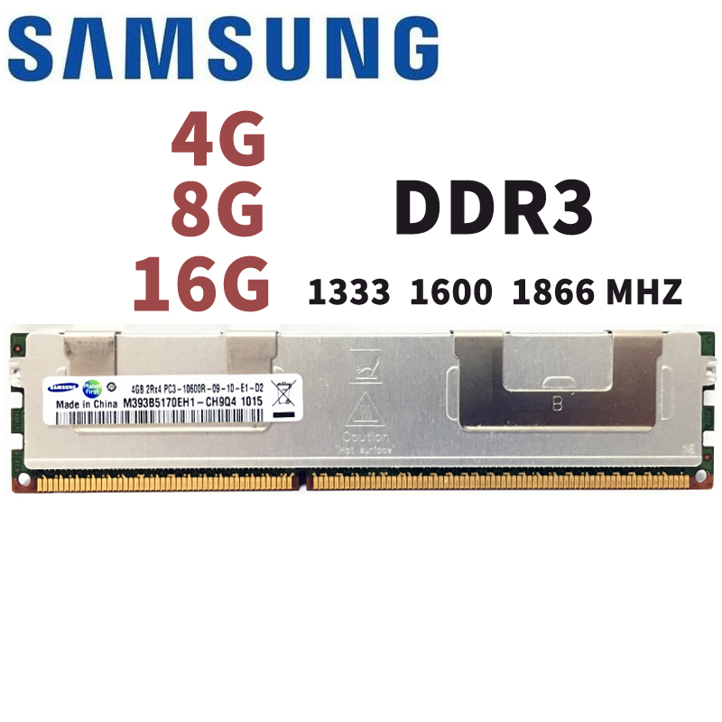 Samsung4GB 8 gb 16 gb DDR3 PC3 1066 mhz 1333 mhz 1600 mhz 1866 mhz Serveur mémoire 8g 16g 1333 1600 1866 ECC REG 10600 14900 12800 RAM