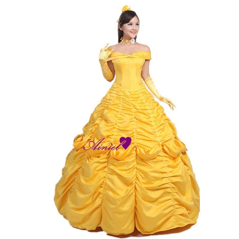 Très bien Ainiel Beauté et la Bête Princesse Belle Cosplay Costume Robe #WW_39