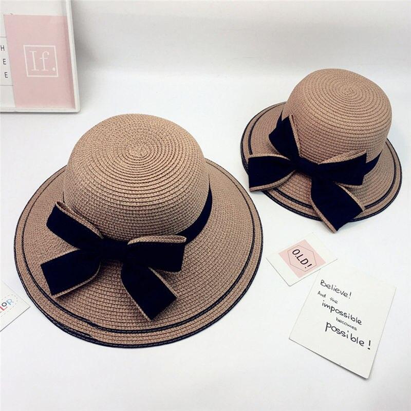 New Women Summer Parent-child Women Casual Daily Baby Kids Girl Beach Bow Straw Flat Brim Sun Hat Cap #4F09 (19)