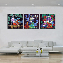 National style pretty girl modern fashion 3 Pieces HD print oil painting on canvas abstract figures wall art