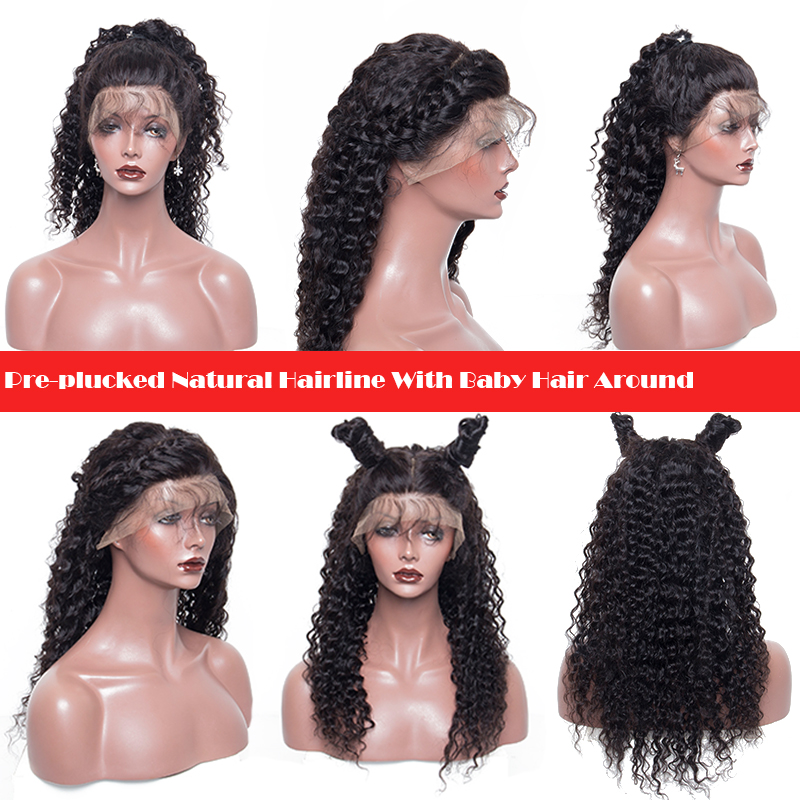 Lace Front Human Hair Wigs For Women Natural Black Pre Plucked 250% Density Brazilian Pictured 24inches 8