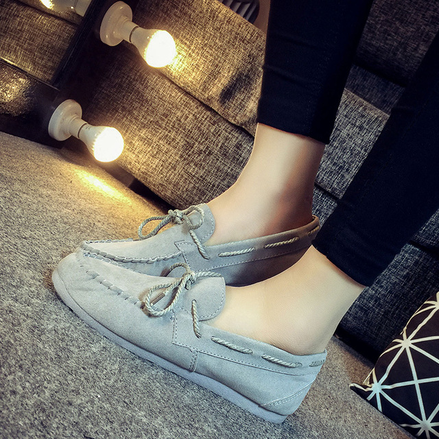 New Moccasin-Gommino Women's Canvas Lace-Up Plastic Soles Flats Loafers Woman Round Toe Casual Autumn Spring Suede Shoes QX-818