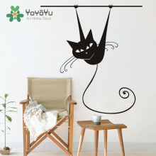 Funny Siamese Cat On Branch Vinyl Wall Sticker Animal Art Removable Decal DIY Cute Home Decor Mural NY-14