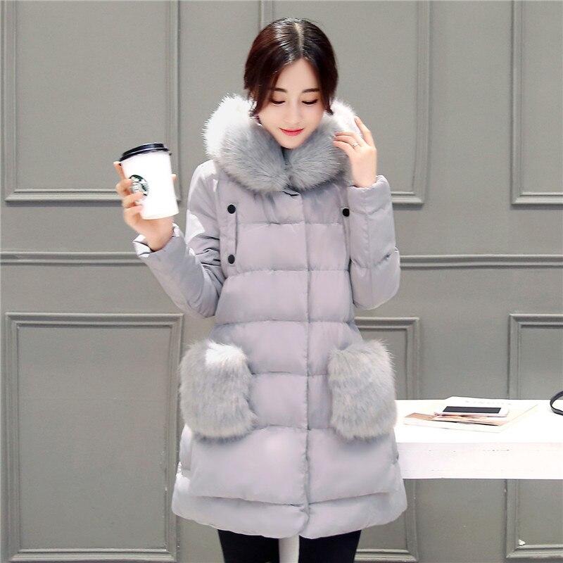 ФОТО 2016 New Design Winter Jacket Women Coat Parka Womens Thick Fur Hooded Pocket Duck Coats Women Loose Long Parkas Coat