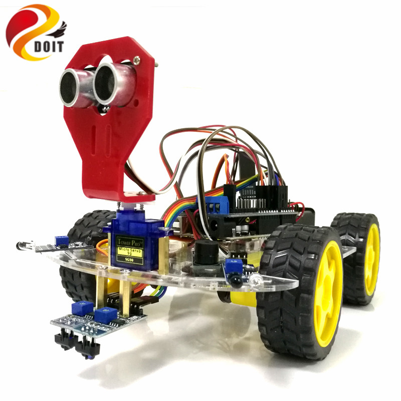 New WiFi Control Avoidance Tracking Smart Robot Car Chassis Kit Speed Encoder Battery Box 4WD Ultrasonic Module For Arduino Kit