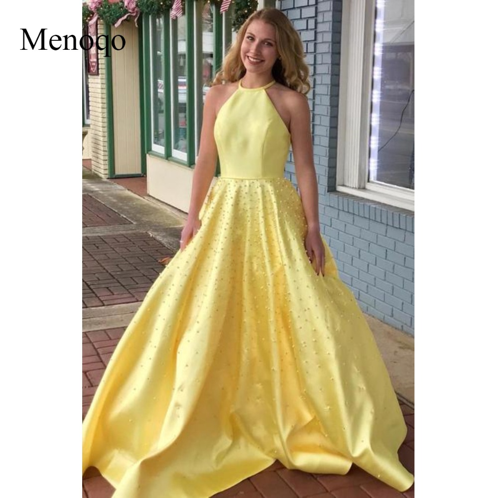 Menoqo Yellow Satin Pearls   Prom     Dresses   with Halter Neckline