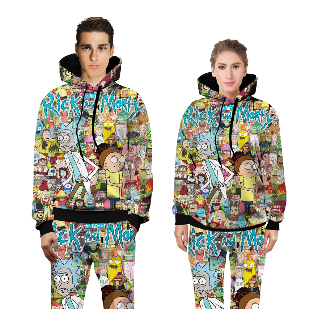Rick and Morty Funny fashion sweats tracksuit men women winter casual clother 3d hoody&pants 2 pieces set size S-XXL