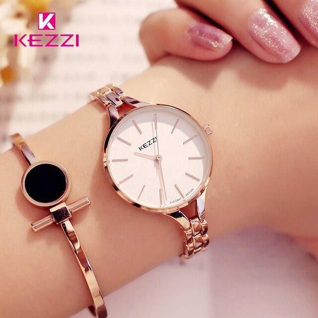 KEZZI Элитный бренд Часы Для женщин Водонепроницаемый Нержавеющаясталь Кварцевые Часы римскими Весы multi Резка зеркальную поверхность часы-браслет