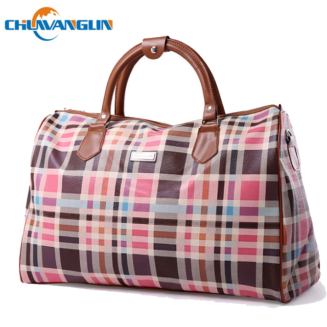 dd8adee1bf04 Chuwanglin women s travel bag fashion plaid duffle bag waterproof luggage  bag Large capacity big bags bolsa