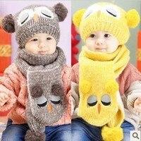 2017販売冬のベビー帽子とスカーフかわいいフクロウパターンかぎ針編みニットキャップ用幼児男の子女の子子供子供ネックウォーマー用