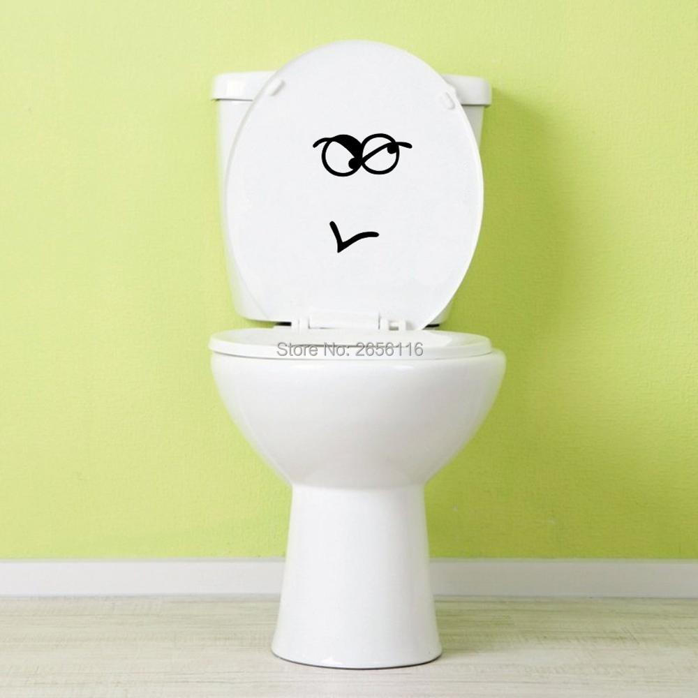 Funny Face Creative Vinyl Toilet Seat Stickers Bathroom Decoration ...