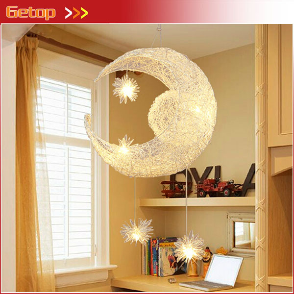 Best Price Creative Nest Aluminum Chandelier Lamp Bar Bedroom Balcony Moon and Stars Decorative Lighting Children's room lights z best price minimalist restaurant bar chandelier single head lamp creative balcony flower pot lamp hanging garden lightings
