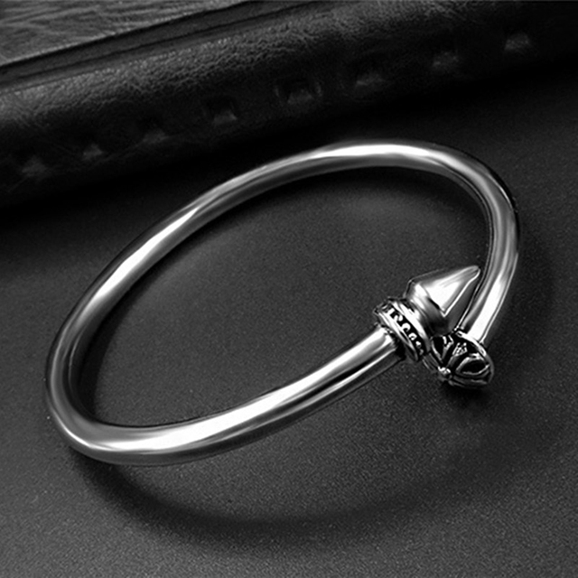 Cool Men Jewelry Cruciferous Nails Titanium Steel Bangle Bracelet Silver Plated Open Bangles Party Hiphop Rock Accessories Gift