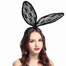 2018 Fashion Bunny Women Girl Hair Bands Lace Rabbit Ears Veil Black Red White Sexy Eye Mask Halloween Party Headwear Head Band
