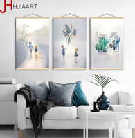 Nordic Cartoon Kids Flower Landscape Painting on Canvas Wooden Framed Wall Art Poster and Prints for Kid's Room Decor