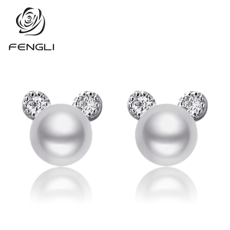 FENGLI Pearl Tiny Mickey Stud Earrings Romantic Mouse Earring for Women Crystal Zircon Studs Ear Jewelry Lucky Prevent Allergy(China)