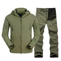 TAD Softshell Erkekler Taktik Ceket + Pantolon Seti Askeri Açık Kamp Yürüyüş Hoody Mont Kış Windstopper Avcılık Ceket