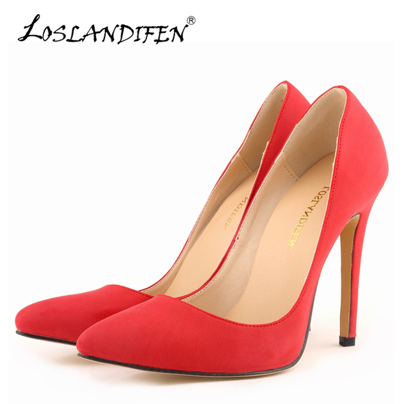 LOSLANDIFEN Sexy Pointed Toe Women Pumps Ladies High Heels Shoes Faux Suede Spring Autumn Red Wedding Office Shoes 302-1SUEDE 2017 spring autumn women pumps sexy pointed toe suede ladies shoes big size 32 43 slip on thick heel red wedding high heels