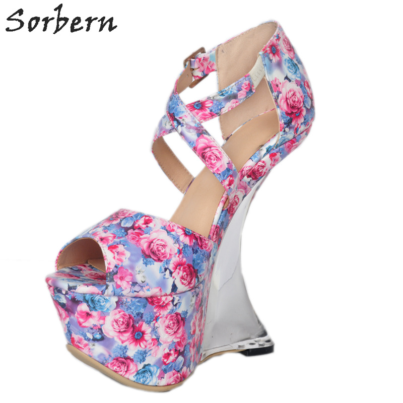 Sorbern Women Pumps Ladies Strange Style Wedges Buckle Strap Peep Toe Satin Fashion Party Shoes Pumps Women Shoes Chaussures sorbern women sandals wedges shoes peep toe ladies party shoes elastic band peep toe plus size designer luxury women shoes