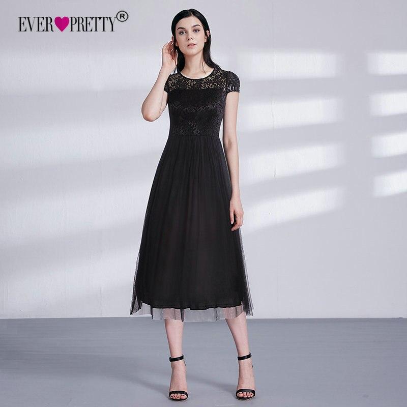 Short Lace Evening Dresses Fashion Ever Pretty EZ03068BK Elegant A Line  Little Black Party Gowns Robe De Soiree Longue 2018 bc2f4337a64a