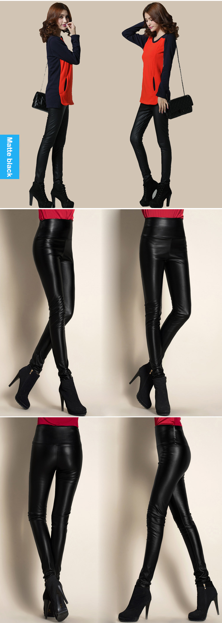 Autumn Winter Women Thin Velvet PU Leather Pants Female Sexy Elastic Stretch Faux Leather Skinny Pencil Pant Women Tight Trouser 47