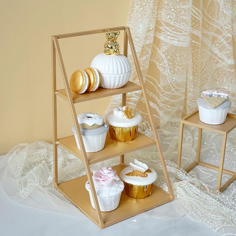 SWEETGO Champagne Gold Tray 1 Piece Cake Tools Fondant Dessert Home Decorations Sweet Table Fitting Storage Holders & Racks