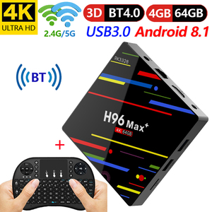 4 GB 64 GB Android 8.1 TV Box H96 Max + RK3328 Quad Core 4G/32G USB 3.0 Smart 4 K décodeur en option 2.4G/5G double WIFI Bluetooth