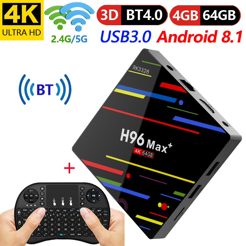 4GB 64GB Android 8.1 TV Box H96 Max+ RK3328 Quad Core 4G/32G USB 3.0 Smart 4K Set Top Box Optional 2.4G/5G Dual WIFI Bluetooth