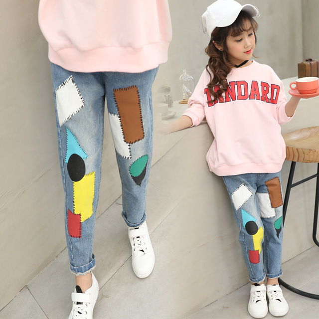 7d01d8fabc Cartoon Blue Jeans for Girls Boys 2018 Fashion Patch Casual Trousers  Teenagers 3-12 Years Elastic Waist Denim Pants