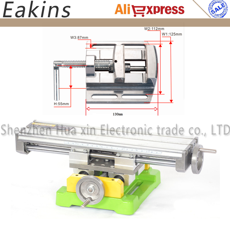 Precision Dual-slot Multifunction Milling Machine Bench drill Vise worktable X Y Coordinate table+2.5