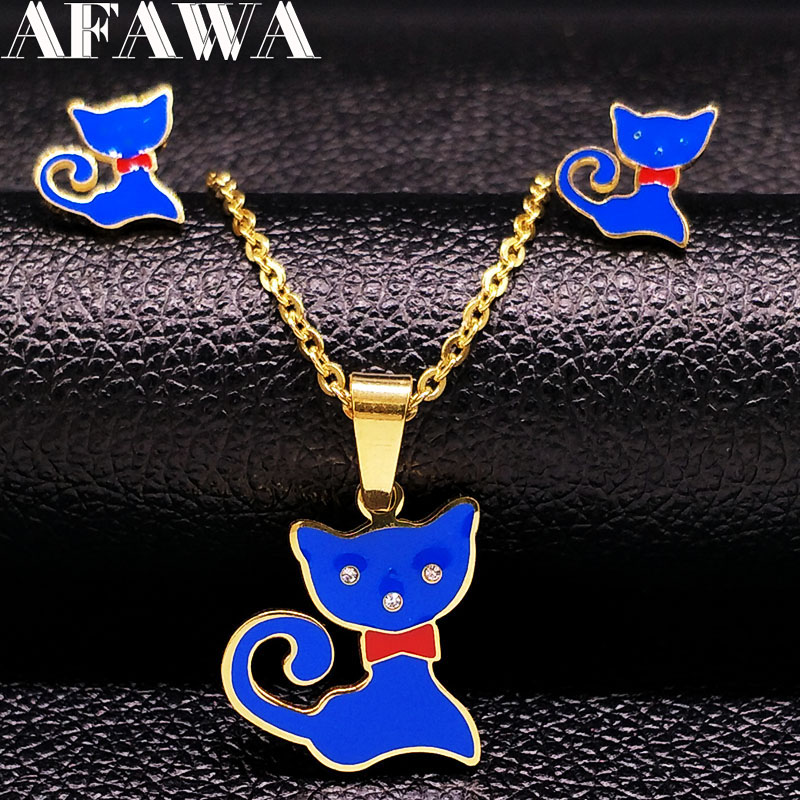 Cat Stainless Steel Jewelry Set for Girl Cut Enamel Girls Jewelry Kids Jewelry Set acero inoxidable collar y aretes set S176201