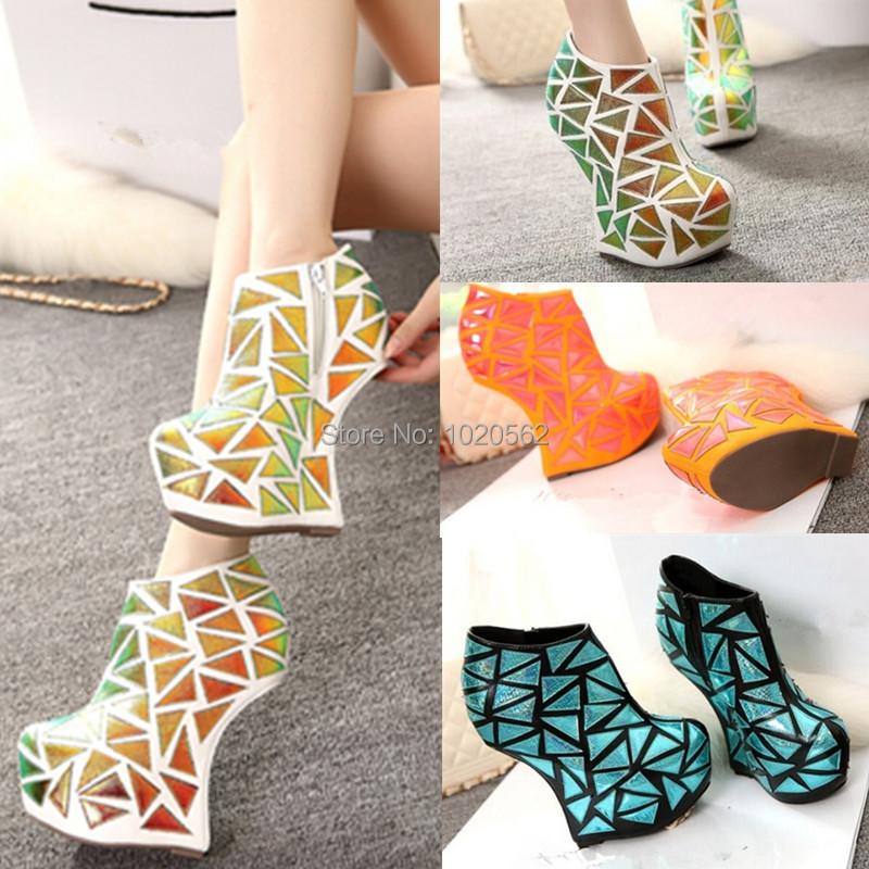 21eed969494 Free shipping 2015 women booties mixed colors wedge heels women pumps  orange blue ankle boots platforms high heels club shoes