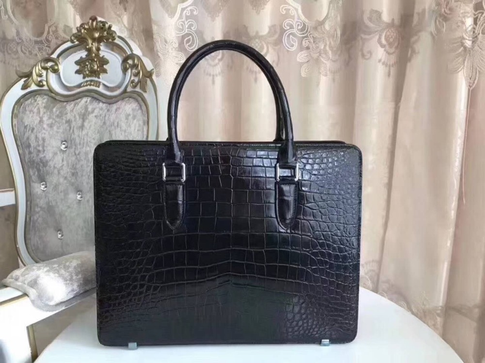 Fashion Men's Genuine/Real crocodile belly skin men business briefcase bag with cow leather lining luxury quality skin men bag cestbeau no splicing real crocodile belly man bag men handbag briefcase 2018 new business men bag with computer layer