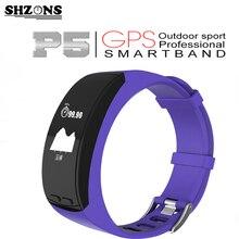 Новый P5 умный Браслет 0.96 »OLED GPS Спорт на открытом воздухе монитор сердечного ритма высота Температура меры шагомер браслет