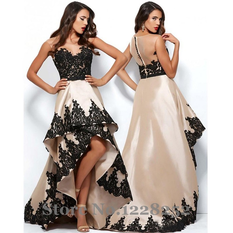 8fd8e68083 Elegant High Low Prom Dresses Illusion Bateau Neck Covered Button Back  Champagne Satin Black Lace Appliques Prom Gowns