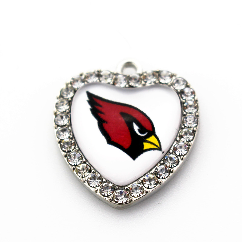 12pcs Crystal Heart Arizona Cardinals Dangle Charms DIY Bracelet Jewelry Accessory Football Sports Hanging Charms pendants