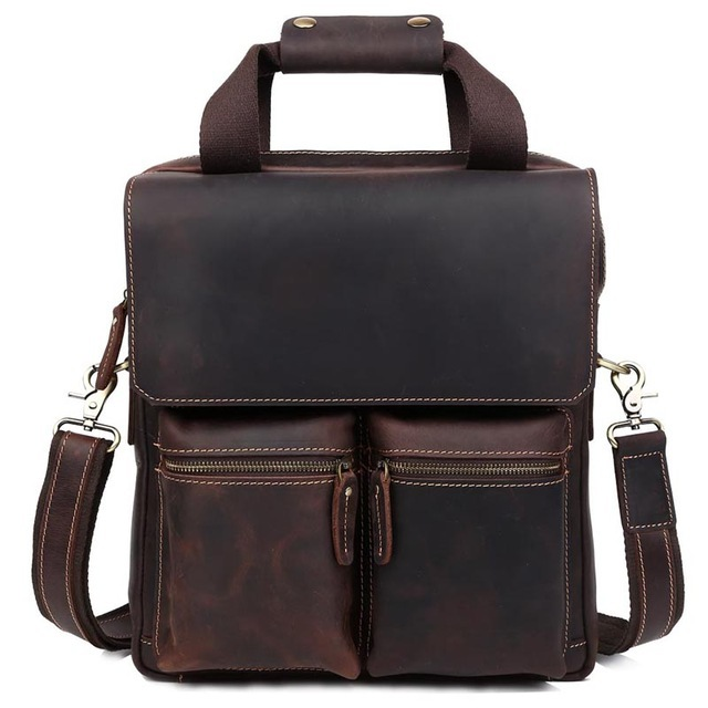 TIDING Retro Genuine Crazy Horse Leather Men Messenger Bag Handbags Briefcase Shoulder Bag 13 Inch Laptop Cowhide Crossbody Bag