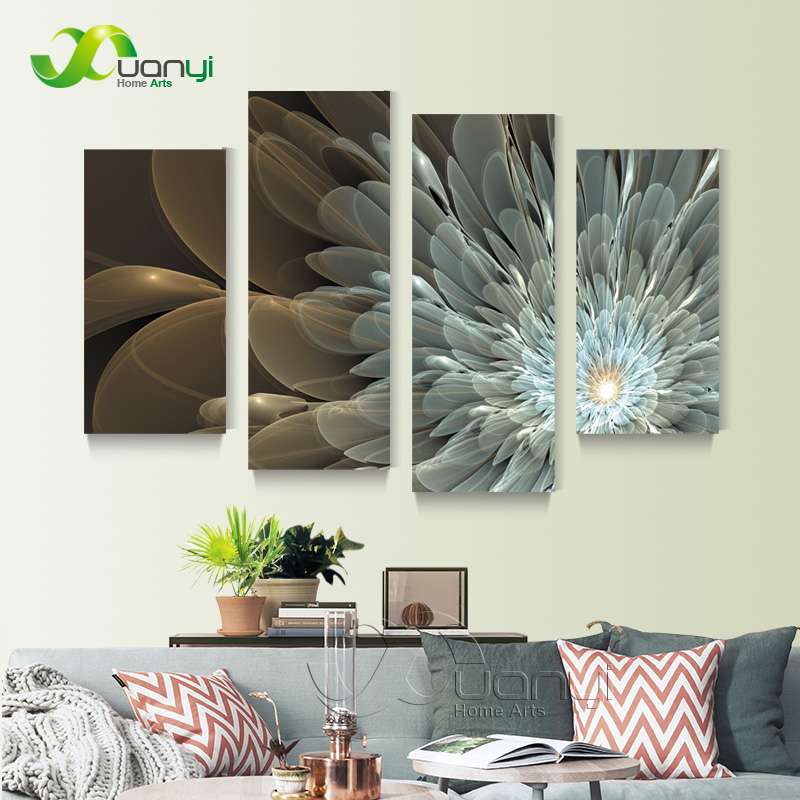 4 Panel Golden Light Flower Canvas Painting Wall Art Home Decor Wall Picture For Living Room