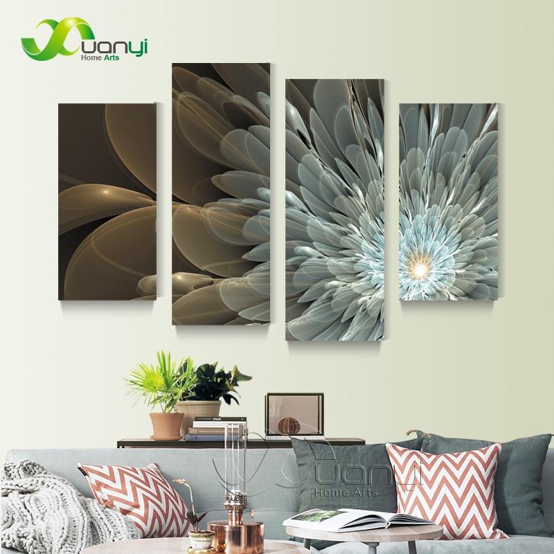 4 Panel Golden Light Flower Canvas Painting Wall Art Home