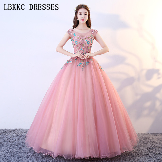 Nude Pink Quinceanera Dresses Ball Gown Tulle Embroidery Scoop Vestidos De  15 Anos Sleeveless Floor Length Sweet 16 Dress ac5e9e34f8c1