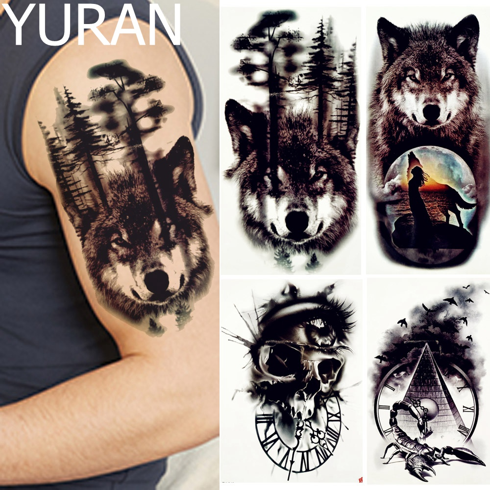 YURAN Black Forest Wolf Tattoos Temporary Men Arm Legs Body Art Tattoo Stickers Women Moon Birds Scorpion Big Fake Tree Tatoos
