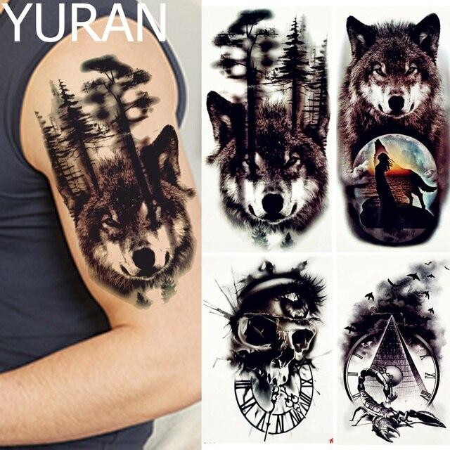 Yuran Negro Bosque Lobo Tatuajes Temporales Hombres Brazo Piernas