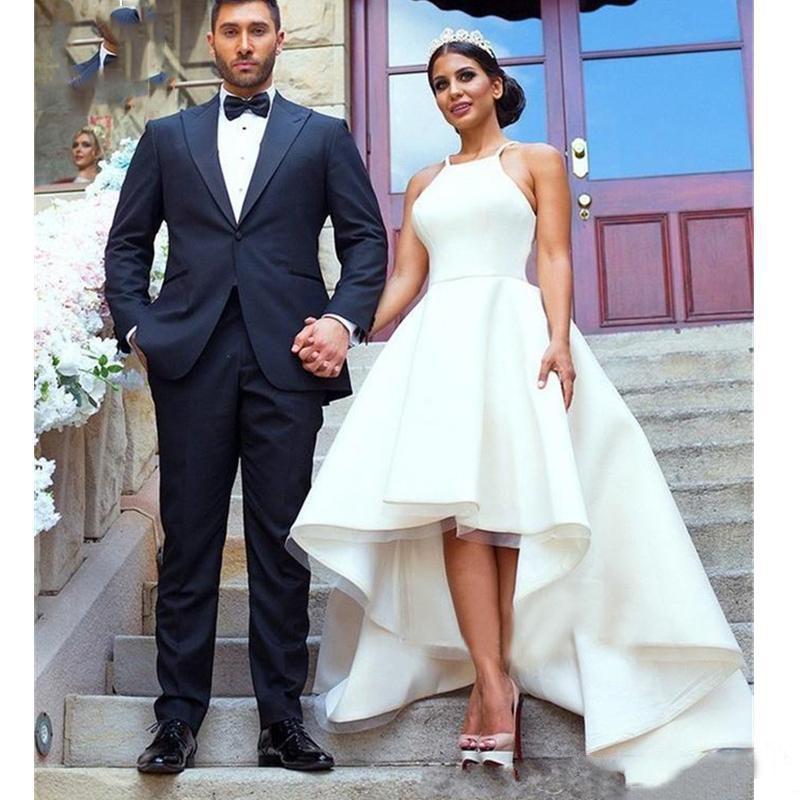 Modest Simple Wedding Dresses Hi Low Halter Neck Satin A-Line Sleeveless Cheap Wedding Party Formal Beach Bridal Gowns