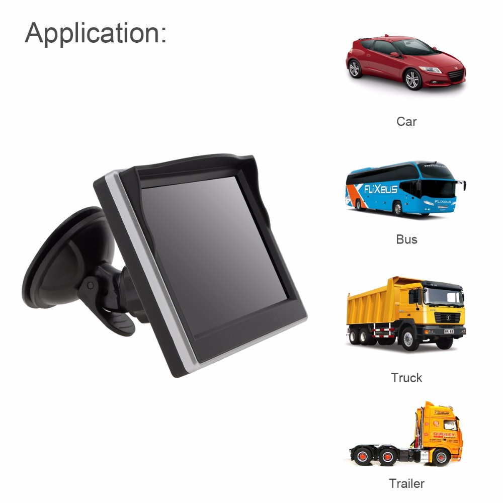 5 Inch TFT LCD 800x480 16:9 Display Screen Car Rearview Monitor With 2 Way Video Input For Rear View Backup Reverse Camera