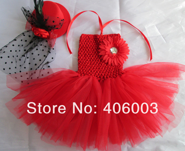 Hot Sale Summer Kids Handmade Tulle Red Baby Tutus Dress Newborn Tutu