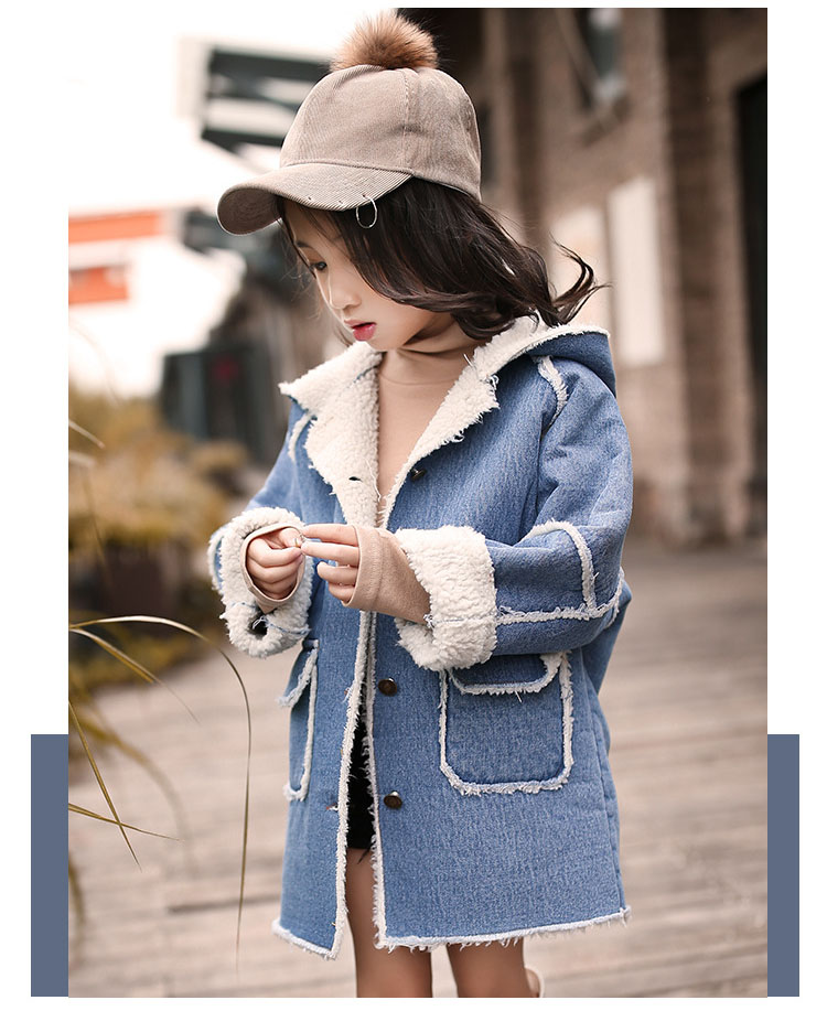 long thick denim trench coats for teenage girls long fleece hooded jeans jackets kids tops clothing children winter outerwears (8)